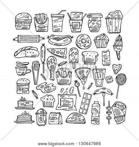 Set with fast food hand drawn vector illustration icons. Fast food restaurant fast food menu. Hamburger hot dog sandwich snacks wafflespizzafrench friesice creamdonutsburgersaucelollipops.