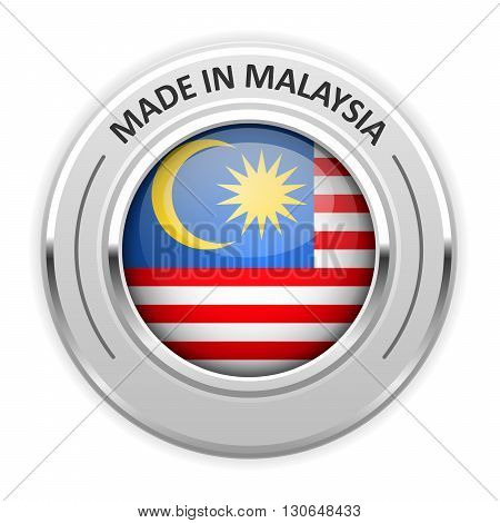 Silver medal Made in Malaysia with flag