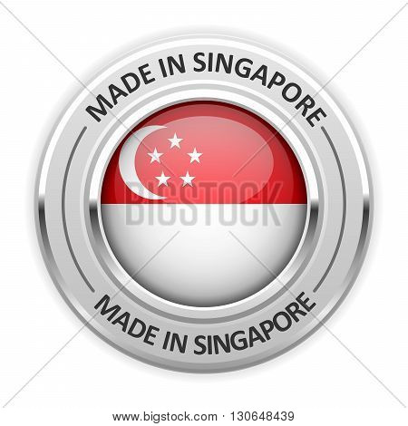 Silver medal Made in Singapore with flag