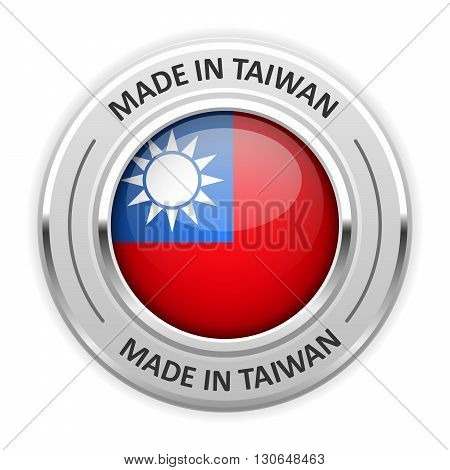 Silver medal Made in Taiwan with flag