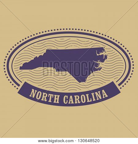 Oval stamp with North Carolina map silhouette