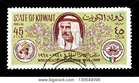 KUWAIT - CIRCA 1968 : Cancelled postage stamp printed by Kuwait, that shows Sheik Sabah, Arms of WHO and Kuwait.