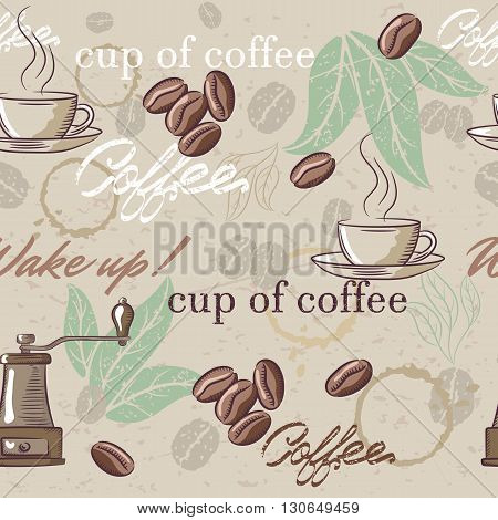 Seamless hand drawn vintage coffee pattern. Vector illustration
