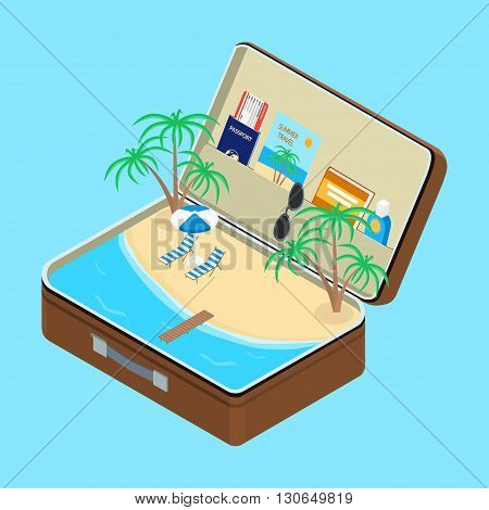 vector illustration. Open suitcase a beach with palm trees and sun loungers. Passport a plane ticket sunscreen book. isometric infographic