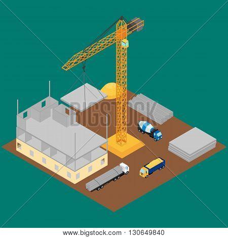 vector illustration. Construction site house under construction crane concrete mixer truck. The concrete blocks. Isometric infographic
