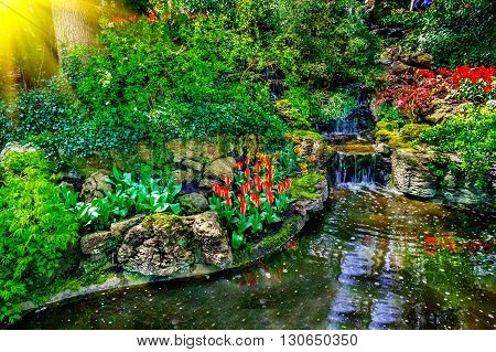 Small waterfall and flowers Keukenhof Park Lisse.