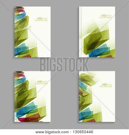 Set Magazine Cover with colored crystals, trellis structure. For book, brochure, flyer, poster, booklet, leaflet, postcard, business card, annual report. abstract background. vector