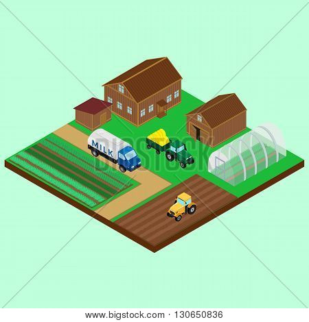 Vector illustration. The yard of a farm - house barn tractor with trailer a tanker carrying the milk on the road field greenhouse