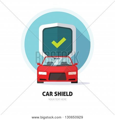 Car guard shield sign, collision insurance shop store logo emblem auto tuning service red sport car front view, protection, driver flat security system badge. Theft modern design label illustration