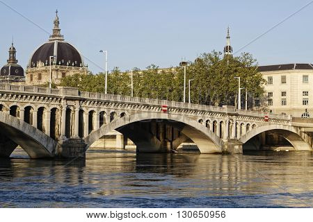 Lyon, France, May 21, 2016 : Pont Wilson On Rhone River In Lyon. It Was A Revolutionary Structure, E