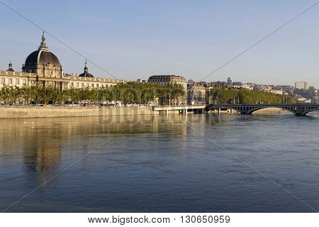 Lyon, France, May 21, 2016 : Rhone River And Hotel-dieu. Hotel-dieu Was A Hospital Of Historical Sig