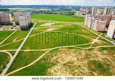 A view of the vacant lot between the apartment buildings in one district of the city of Grodno Belarus