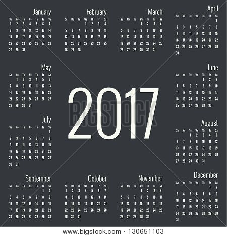 Monthly Calendar for 2017.  Simple month grid template. Vector. Black
