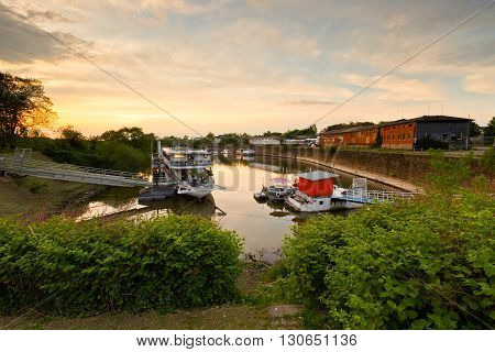 DRESDEN, GERMANY - MAY 12, 2016: Old dock on river Elbe in Dresden, Germany on May 12, 2016.