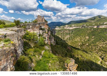 Ruins of the Siurana Castle over the Cliffs Catalonia
