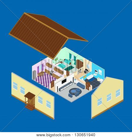 vector illustration. The interior of the rooms inside the house. Bathroom kitchen living room bedroom. a desk with a computer. Infographic. isometric.