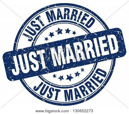 just married blue grunge round vintage rubber stamp