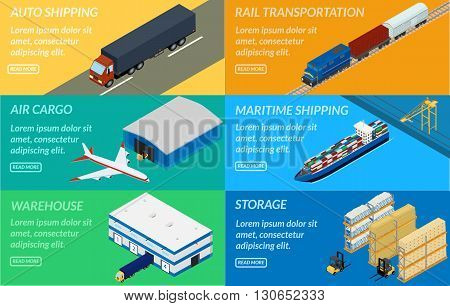 vector illustration. web banners set of logistics chain. Delivery by truck airplane ship freight train. Warehouse forklift. isometric infographic