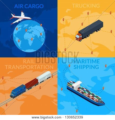 Vector illustration. Global supply chain. Logistics. 3D isometry infografia. Set icons - cargo train ship truck cargo plane.