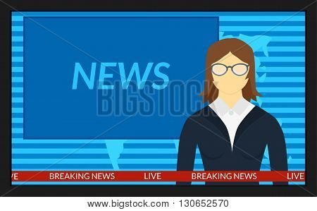 vector illustration. The news on TV. The woman reporter in the glasses.