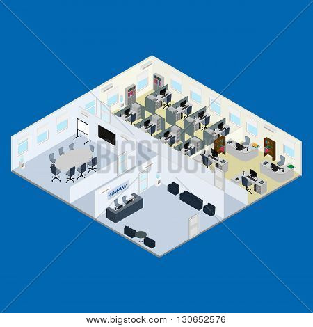 vector illustration. Office interior - reception meeting room open office space room for management. isometric.