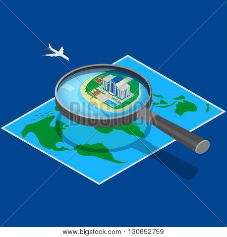 vector illustration. Modern hotel on the map near the sea. look through a magnifying glass. Hotel flying airplane. A beachfront restaurant swimming pool tennis court. isometric infographic