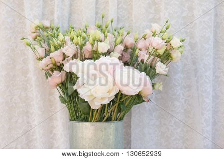 flower bouquets , bunch of Lisianthus and Peony flowers