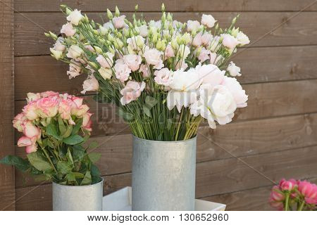 flower bouquets , bunch of Rose, Lisianthus and Peony flowers