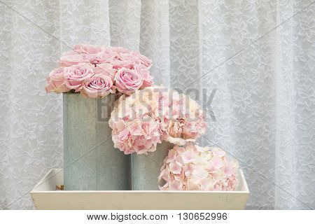 flower bouquets , bunch of Pink rose and Hydrangea flowers