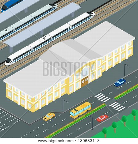 vector illustration. The building of the railway station. Train on the railway platform railway station. Parking cars road car bus. Infographics isometric