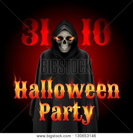 Halloween party invitation design with Grim Reaper and flame