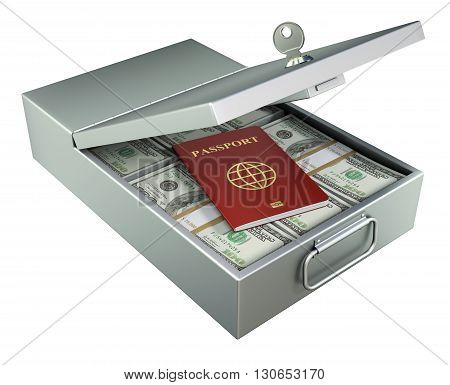 Open metal bank safety deposit box with money and red passport isolated on white background - 3D illustration