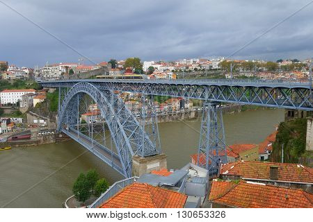 Bridge of Don Luis the I across the river Douro in Porto