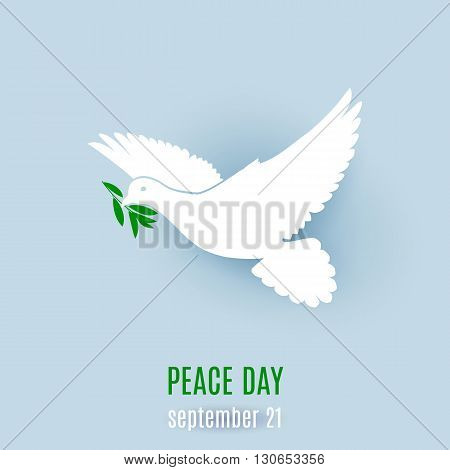 Dove of peace flying with a green twig. Illustration on light blue