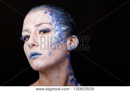 Art Make-up. Beautiful woman portrait with make-up close-up