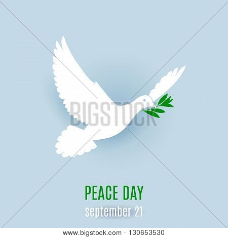 Dove of peace flying with a green twig. Illustration on light blue background