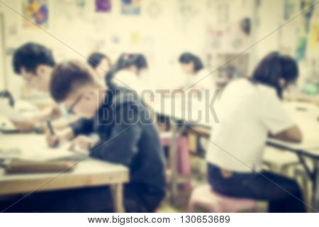 Blurred Children In The Art Room