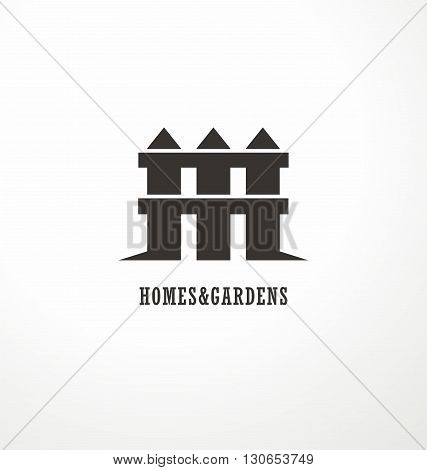 House shape made from fence creative symbol concept. Home and garden decoration logo design idea. Simple icon vector design for real estate company on white background.