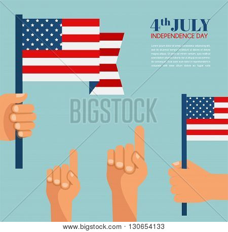Independence Day in America. hand holding  USA flag.