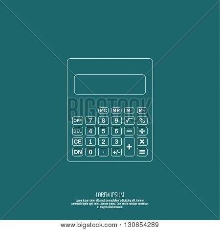 Calculator top view. Vector icon. Line art design.