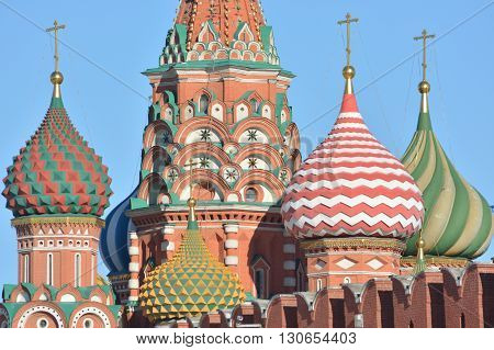 St. Basil's Cathedral. Domes of St. Basil's Cathedral on red square in the Kremlin.