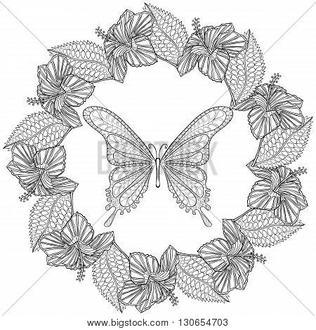 Hand drawn zentangle Butterfly in wreath of Hibiskus flower for adult anti stress coloring pages, t-shirt print. Boho, bohemian style. Isolated illustration in doodle, henna tattoo design.