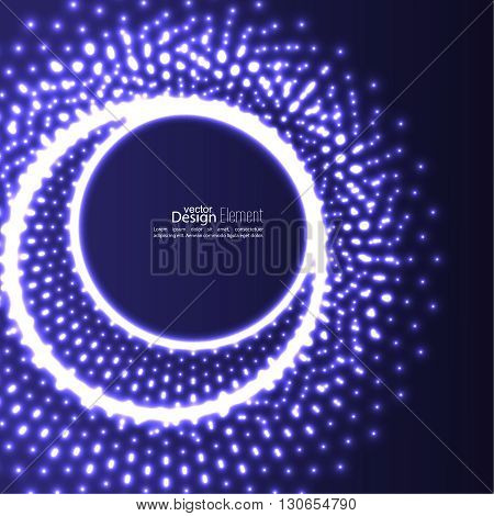 Abstract background with glowing circles and flying particles, molecules. Techno poster. For banners techno parties, DJ sets. complex data