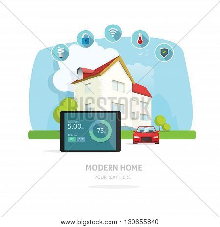 Smart home modern future house vector illustration flat, lighting, heating, air conditioning, saving energy, security safety, sun solar module power control technology system, house remodeling