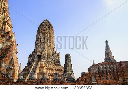 the ancient Buddhist temple at Ayuthya historical park with the sunset light