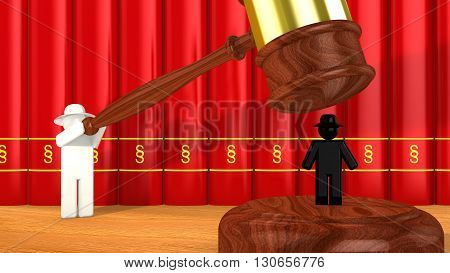 White hat hacker uses a wooden gavel to smash a black hat hacker cybercrime 3D illustration