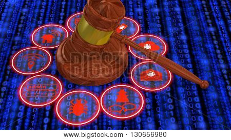 IT security law concept 3D illustration wooden gavel in the middle of a ring with common IT security threats