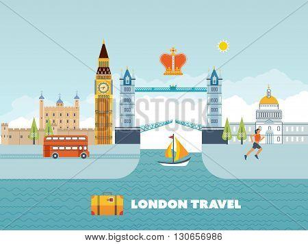 Flat design of London city. Modern London skyline vector illustration. London travel. Historical and modern building.