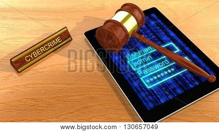 Gavel on a digital tablet with a blue digital background screen and a password entry field 3D illustration cybercrime concept