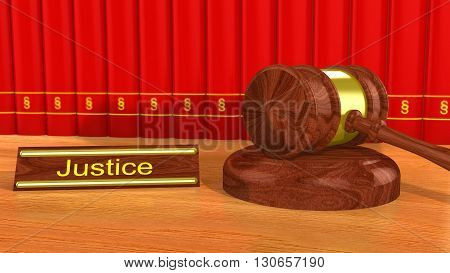 Wooden gavel on a table with a sign showing the word justice in front of red books with a paragraph symbol 3D illustration